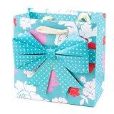Мешок подарка бумаги печатание МНОГОТОЧИЯ яркия блеска, голубой мешок подарка бумаги искусствоа, мешок подарка, мешок Kraft бумажный, мешок покупкы бумажный