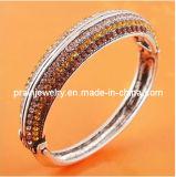 Chapado de plata antigua Brown aleación Rhinestone pulsera, pulsera de cristal, abalorios de joyería Diamante CZ Joyas de la Cadena de aleación (PB-074)