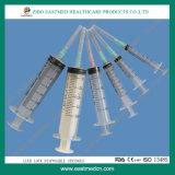 3-Parts Luer Verschluss-Spritze mit angebrachter Nadel für einzelnen Gebrauch