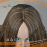 Europäische Brown-Farben-Menschenhaar-Perücke 100% (PPG-l-0497)