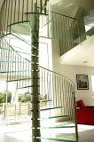 Escadaria espiral de vidro France com aço inoxidável Balustarde