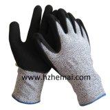 Arbeits-Handschuh China der Sandy-Nitril-Beschichtung-Handschuh-Antischnitt-Stufen-5