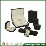 Kundenspezifischer schwarzer Samt-Plastikschmucksache-Kasten