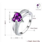925銀製の中心のリングの宝石類紫色CZを卸し売りする