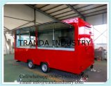 En acier inoxydable Factory Price Moving Towable Snack Fast Food Cart