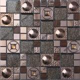Hölzernes Mosaic, Crystal Embed mit Steel Wire Tile, Metal Mosaic Tile