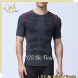 Type neuf T-shirt sans joint de vêtement de culturisme de collet des hommes O de gymnastique