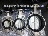 CF8 Válvula Borboleta Wafer de aço inoxidável com o operador da Engrenagem