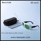 anteojos de la protección del laser 635nm y gafas de seguridad rojos de lasers del diodo 808nm y 980nm (RTD-3 630-660nm y 800-1100nm) con el marco ajustable 36