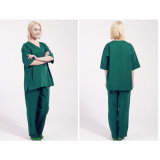 100% Algodão V-Neck Style Medical Uniform Scrubs