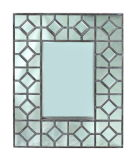 Marco de madera del espejo de la decoración del acento de la pared de la decoración de la antigüedad casera del rectángulo