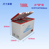 Purswave Wrf-188 188L DC Solar Chest Freezer 12V24V220V110V Geladeira Temperatura Duplo Alimentado por Painel Solar e Bateria -20degree 0 ~ 10degree