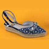 Таким образом дамы Canvas цветочный Sequin пятке ремешками сандалии Espadrilles платформы