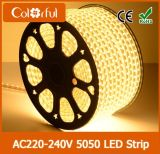 Larga vida de alto brillo AC230V tira flexible de LED SMD5050