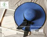 2017 Nuevo diseño de moda pliega sombreros de paja con cinta para el verano
