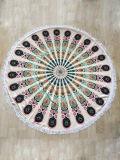 Essuie-main de plage rond d'impression réactive en stock avec de divers modèles (paon et clavette)