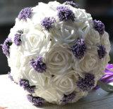 2016 최신 판매 라벤더 크림 색깔 리본을%s 가진 실크 로즈 신부 꽃다발