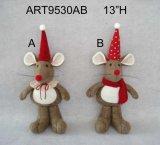"8 ""H Decoración de Navidad Pareja de Ratones Holding Babies-2asst"