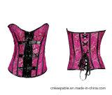 Taillen-Former gotische Overbust Korsett-Oberseite der Frauen mit Faltenbildungen