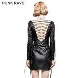 Q-312 Punk Party Hollow heraus Deep V PU Dress für Various Occasions