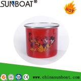 Esmalte de porcelana caneca de Aço Carbono com aro de laminagem de aço inoxidável