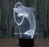 新しく多彩なイルカ3D LED夜ライトかランプ