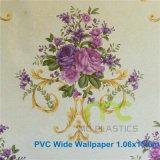 Papel pintado del PVC del diseño de la flor/de par en par talla el 1.06X15.6m