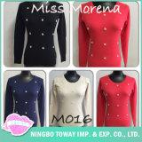 Diseñador de moda invierno con cuello en V suéter tejido sobredimensionado señoras los géneros de punto venta
