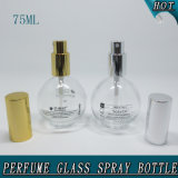 Bouteille en verre cosmétique claire ronde réutilisable de jet du parfum 75ml