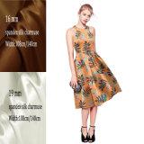 Цветочного дизайна цифровой печати шелк растянуть ткань Charmeuse Дамы платье
