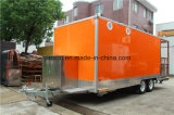 Orange Color Mobile Camping Trailer con plataforma