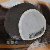 반점 하이라이트 사람의 모발 실크 최고 유태인 가발 (PPG-l-01158)