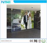 P3.75mm China publicidad interior LED de vidrio transparente de la pantalla de pared de vídeo