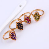 11796 populäres 18k Gold-Plated Flower Colorful Zircon Jewelry Finger Ring in Copper Alloy