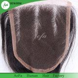 Ondas soltas Virgem Humana Encerramento de cabelo para as rendas de suíços