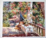European Garden Scenery Handmade Mediterranean Dirty Oil Painting for