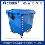Uso esterno Wastebin di plastica della via con Pedao d'acciaio 1100