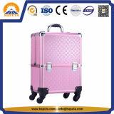 Cassa di alluminio della cassa del carrello di colore rosa di caso di bellezza del progettista con i cassetti (HB-2023)