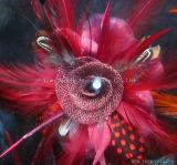 染められたラインストーン軽くて柔らかいHeadwearは装飾的な多色刷りの羽の花DIYを制作する