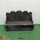 Rustic Stained Wooden Black Bancos de interior con almacenamiento
