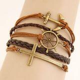 Vintage многоуровневый очарование браслет из натуральной кожи для женщин
