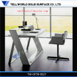 Z Desk Corian Wod Effet Worktops White Table de salle de réunion Executive Stone Ensemble de bureau de bureau exécutif
