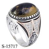 Nuovi anello d'argento dell'uomo di stile 925 dell'Arabia Saudita di disegni con la grande pietra