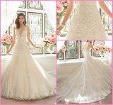 Vestido de noiva nupcial de renda com vestido de noiva com decote em V Y201642