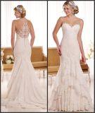 Blosses Ausschnitt-Brautkleid-Tasten-Spitze-Hochzeits-Kleid Ens1912