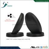 Ventilateur intrinsèque de chargeur sans fil du modèle le plus neuf petit, Chaleur-Rayonnement de haute performance, base ronde antidérapante noire normale de remplissage rapide de Qi