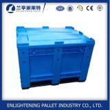 Caixa de pálete plástica do engranzamento do HDPE 606L com a roda para a agricultura