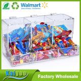 Venta al por mayor de acrílico a granel clara del compartimiento del caramelo 3-Compartment