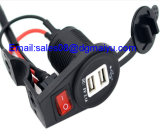 USB Charge Socket di 12-24V 2.1A/1A Waterproof Motorcycle Dual con Switch per Mobile Phone MP3 GPS Car Motorbike Charger