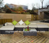 Poly Rattan Mix Brown Outdoor Bank van de Hoek